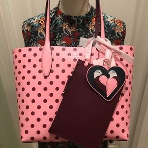 KATE SPADE NWT ARCH REVERSIBLE TOTE BAG POUCH PINK